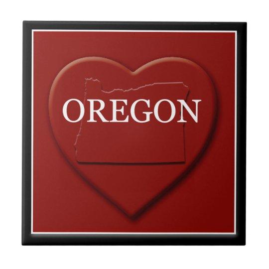 Oregon Heart Map Home Decor Tile