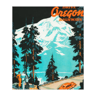 Oregon Highways Advertising Poster Canvas Print