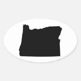 Oregon in Black and White Oval Sticker