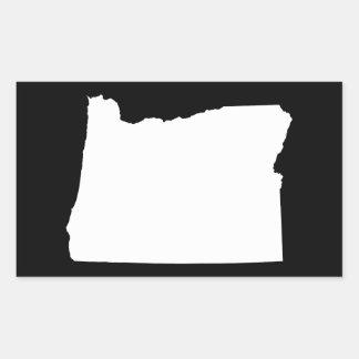 Oregon in White and Black Rectangular Sticker