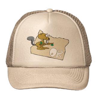 Oregon OR State Cartoon Map & Beaver Art Motto Mesh Hats