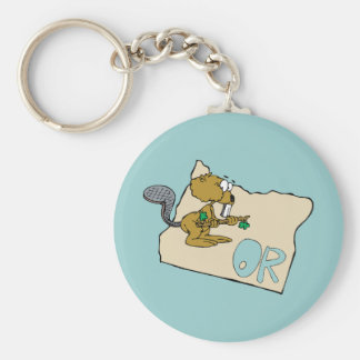 Oregon OR State Cartoon Map & Beaver Art Motto Key Ring