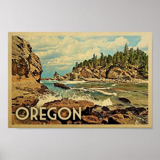 Oregon Poster Vintage Travel Art Ocean Nature