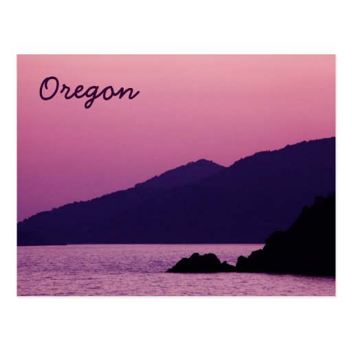 Oregon purple mountain sunset postcard