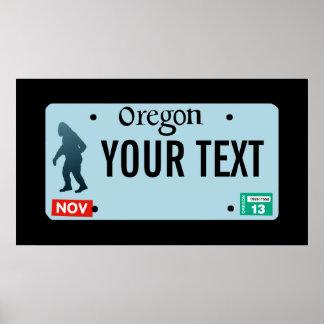 Oregon Sasquatch License Plate Poster