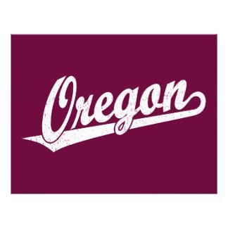 Oregon script logo in white distressed 21.5 cm x 28 cm flyer