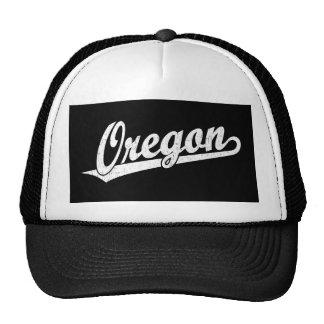 Oregon script logo in white distressed cap