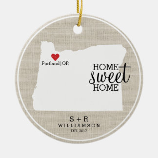 Oregon State Love Home Sweet Home Custom Map Christmas Ornament