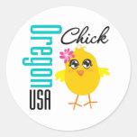 Oregon USA Chick Round Stickers