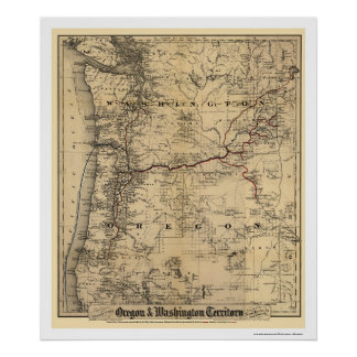 Oregon & Washington Railroad Map 1880 Poster