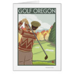 OregonGolf Scene Vintage Travel Poster Greeting Cards