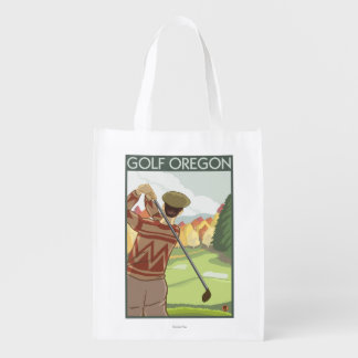 OregonGolf Scene Vintage Travel Poster Reusable Grocery Bag