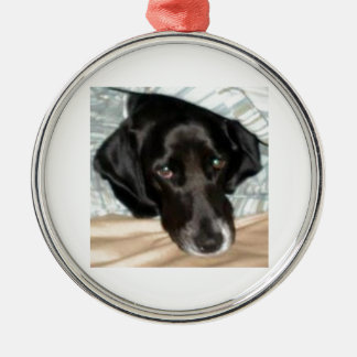 Oreo the English Springer Spaniel Dog Silver-Colored Round Decoration