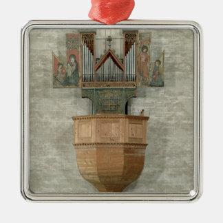Organ, 1390 Silver-Colored square decoration
