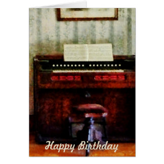 Organ and Swival Stool - Birthday Greeting Card