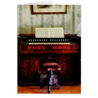Organ and Swivel Stool Greeting Card