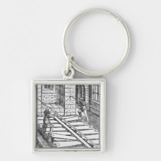 Organ Bellows and Blowers Silver-Colored Square Key Ring