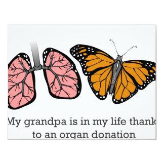 Organ donation 11 cm x 14 cm invitation card