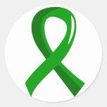 Organ Donation Green Ribbon 3 Round Sticker