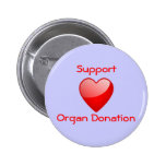 Organ donation supporter pinback buttons