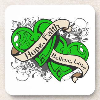 Organ Donor Awareness Hope Faith Dual Hearts Drink Coasters