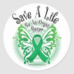 Organ Donor Butterfly 3 Round Stickers