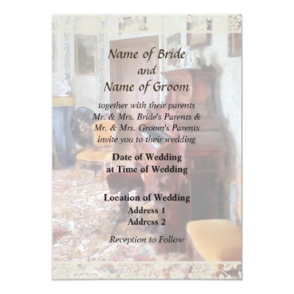 Organ in Victorian Parlor Wedding Products 13 Cm X 18 Cm Invitation Card