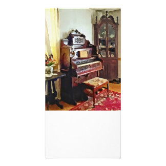 Organ in Victorian Parlor With Vase Customized Photo Card