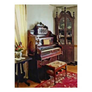 Organ in Victorian Parlor With Vase Poster