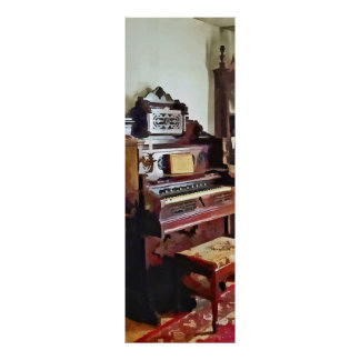 Organ in Victorian Parlor With Vase Print