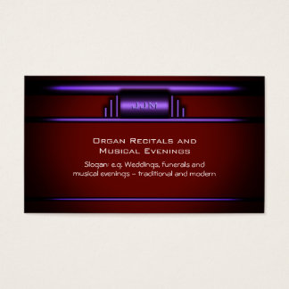 Organ Recitals, Art Deco Pipe organ logo in purple Business Card
