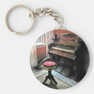 Organ With Petit Point Stool Basic Round Button Key Ring