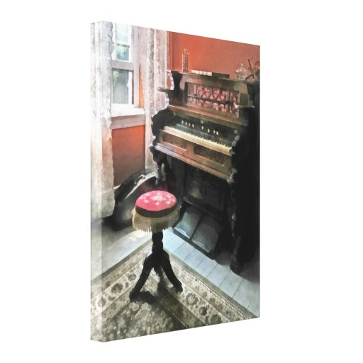 Organ With Petit Point Stool Gallery Wrapped Canvas