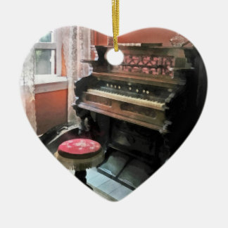 Organ With Petit Point Stool Ceramic Heart Decoration