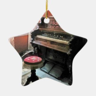 Organ With Petit Point Stool Ceramic Star Decoration