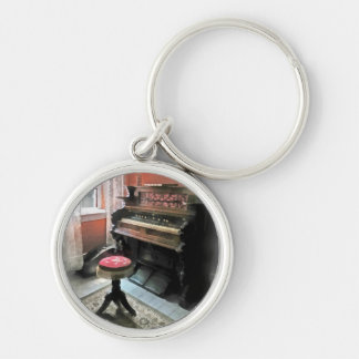 Organ With Petit Point Stool Silver-Colored Round Key Ring