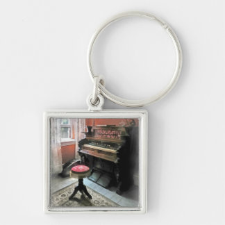 Organ With Petit Point Stool Silver-Colored Square Key Ring