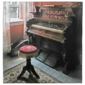 Organ With Petit Point Stool Cloth Napkin