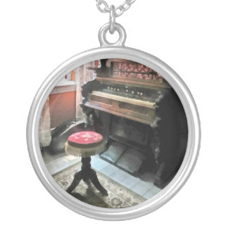 Organ With Petit Point Stool Round Pendant Necklace