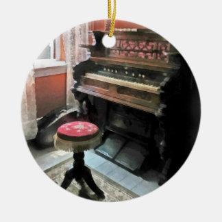 Organ With Petit Point Stool Round Ceramic Decoration