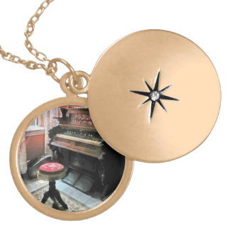 Organ With Petit Point Stool Round Locket Necklace