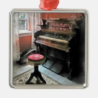 Organ With Petit Point Stool Silver-Colored Square Decoration