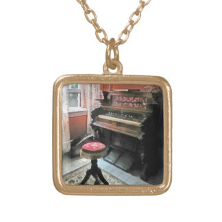 Organ With Petit Point Stool Square Pendant Necklace