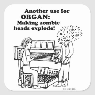 Organ Zombie Explode Square Stickers