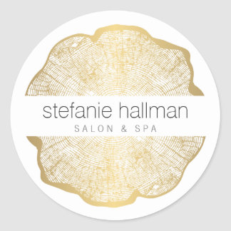 Organic Beauty Gold Tree Rings Round Sticker