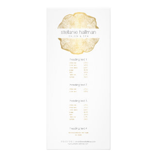 Organic Beauty Gold Tree Rings Salon Rack Card