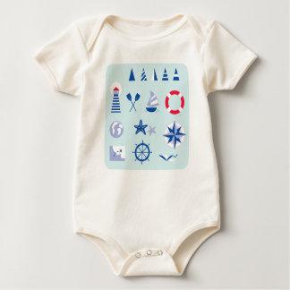 Organic bio baby body with Mare icons Baby Bodysuit