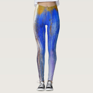 Organic Blue and Yellow Abstract Dance Leggings