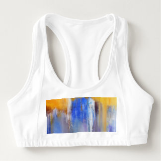 Organic Blue and Yellow Abstract Sports Bra