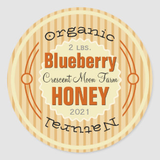 Organic Blueberry Personalized Honey Jar Classic Round Sticker